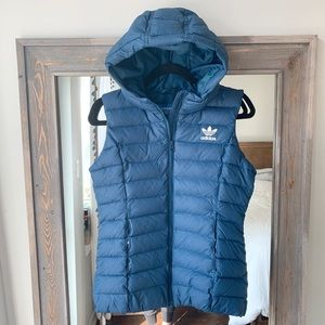 NWT Adidas Blue Green Puffer Vest, Size Small